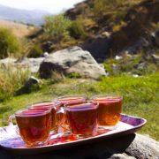 نمایی زیبا از چایی در یک صبح پاییزی